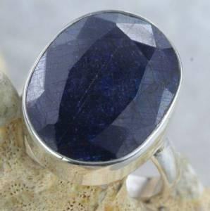 Anel Prata 925 Pedra Naural Azul, Nº18 - Frete Grátis