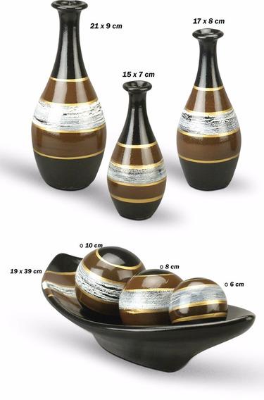Trio De Vasos Cerâmica Mais Enfeite Centro De Mesa Preto