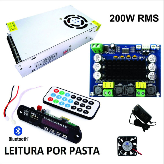 Kit Amplificador 200w + Fonte + Leitor De Usb Bluetooth Mp3