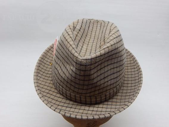 Sombrero Paño De Fieltro Cuadrillé En Colores Beige Y Marrón