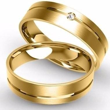 Par De Alianças Em Prata Banhada A Ouro 18k Com Prata
