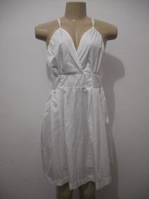 Vestido Branco Tafetá Tam M Forrado Usado Bom Estado