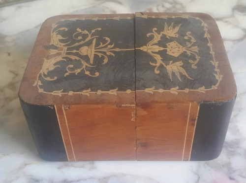 Antigua Caja Naipes Gran Trabajo Marqueterie Sellada Italy
