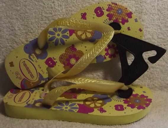 Havaianas Original: Kids Flores - Amarelo/bege Nº29 / Nº30