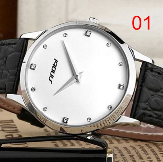 Relógio Feminino Sinobi Pulseira De Couro Luxo Cód.110