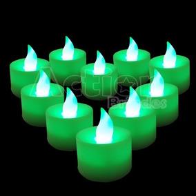 Velas Decorativas Led Verde Baterias Inclusas Kit 24 Un