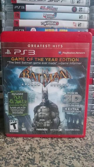 Batman Arkham Asylum Game Of The Year Edition Ps3-frte R$10
