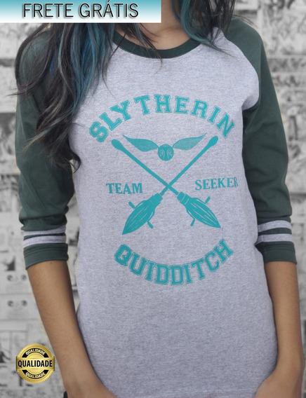 Camiseta Raglan Quadribol Sonserina Harry Potter Feminina