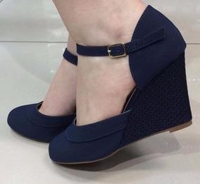a0f358abd Sapato Anabela Boneca Azul Marinho Feminino - Sapatos no Mercado ...
