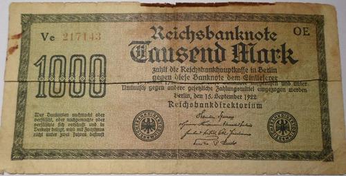 Alemania - Billete De 1000 Mark - Año: 1922