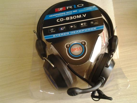 Fone Estéreo Com Microfone Cd 830 Em Oferta Cabo 2,5m
