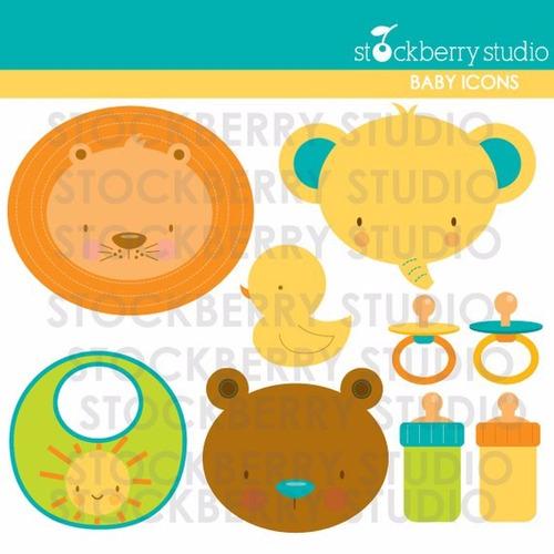 Kit Scrapbook Digital Animais Baby Imagens Clipart Cod 8