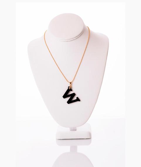 Collar Van Grieken Letra W Acrilico. Baño De Oro 18k.