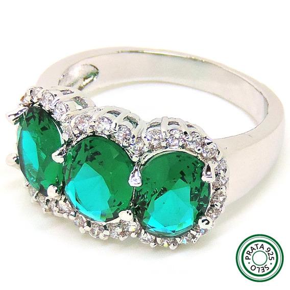 Anel Semi Jóia Prata 925 Com Pedras Topázio Verde E Branco