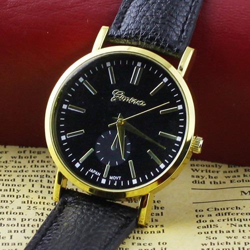 Relógio Geneva Unissex Caixa Dourada E Pulseira De Couro