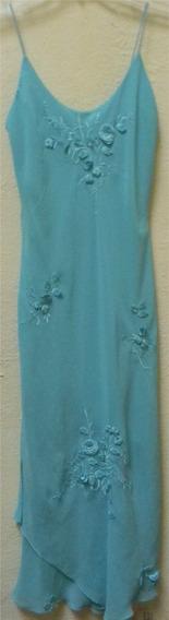 Vestido Azul Verde Talla S Dama