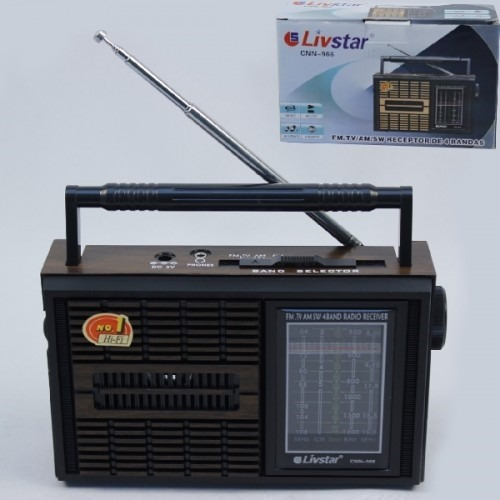 Radio Portatil Retro Com 4 Bandas Am Fm Sw E Tv Livstar Cnn-