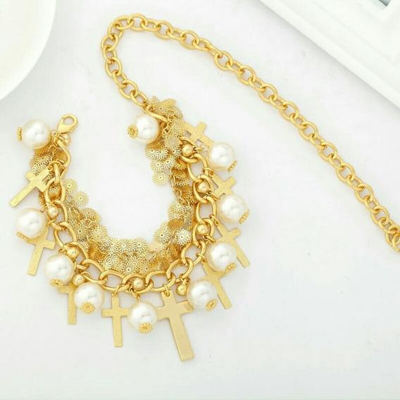 Collar De Oro Laminado Con Perlas.