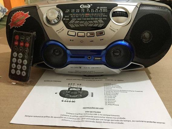 Rádio Recarregável Am Fm Usb Sd Player Controle Remoto