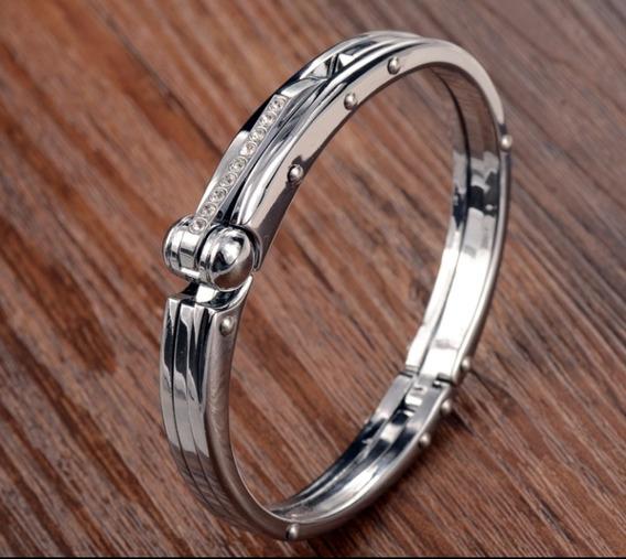 Bracelete Algema Aço Inoxidável Banhado A Prata Masculino