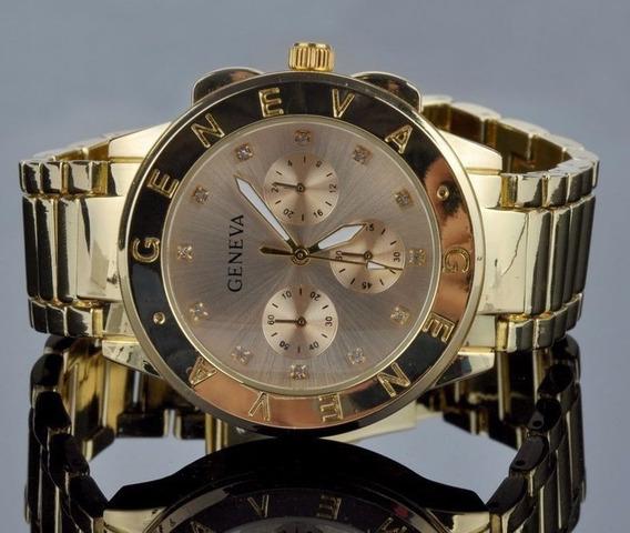 Relogio Dourado Geneva Luxuoso Com Strass - Pouco Uso