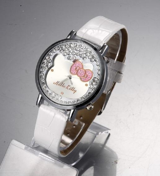 Relógio Infantil Hello Kitty Strass Luxo Pulseira De Couro