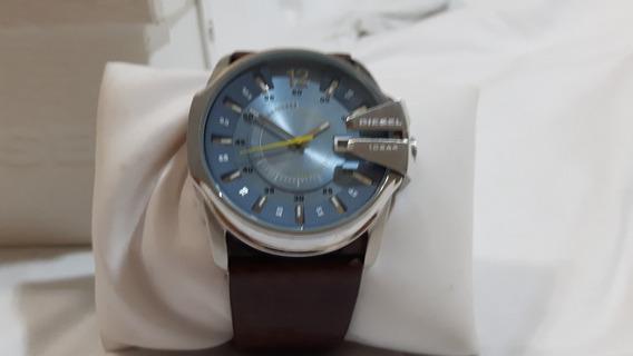 Relógio Diesel, Fundo Azul, Pulseira Em Couro