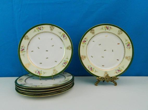 Juego 6 Platos De Porcelana Limoges Pintados A Mano De 25 Cm