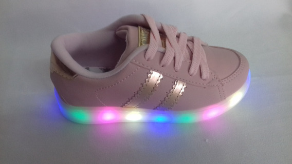 Tenis Brink Rosa/dourado Com Led Light Color Lindo E Confort