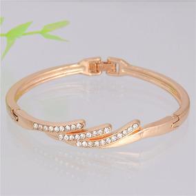 Pulseira Bracelete Dourado Strass Dama
