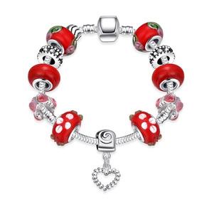 Pulseira Com Berloques Vermelho Completa Estilo Pandora 19cm