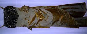Vestido De Fiesta Amarillo Dorado Con Negro