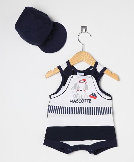 Macaquinho Bebê Menino Marinho E Branco Com Boné