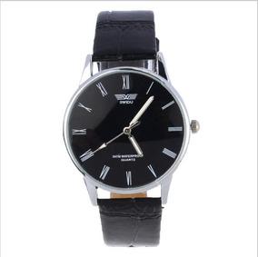Relógio Elegante Pulseira Preta De Couro