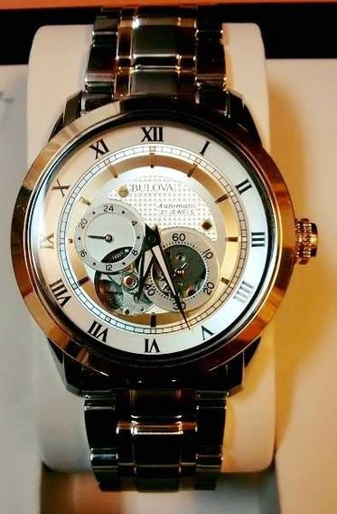 Relógio Bulova Automático Com 21 Joias 98a123 Com Garantia