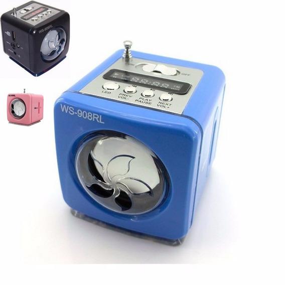 Portátil Caixinha De Som Ws-908 Usb Pen Drive Radio