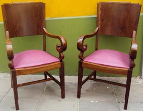 Par De Poltronas Art Decó Imbuia Com Assento Couro Cor Lilás