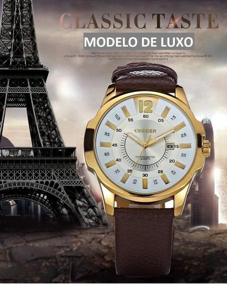 Relógio Masculino Curren Pulseira De Couro Luxo