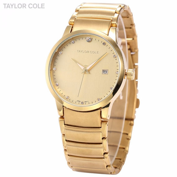 Relogio Masculino Feminino Taylor Cristal Dourado Cd1235
