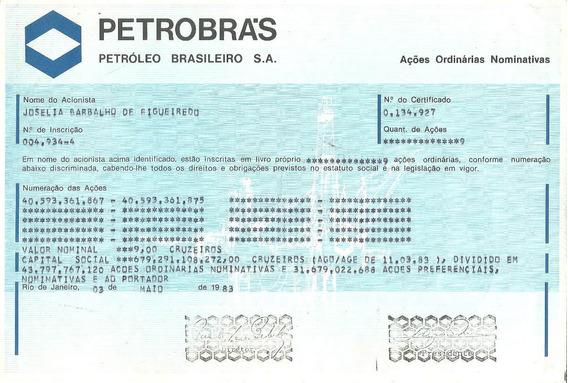 Apólice Acões Ordinarias Nominativas Petrobras