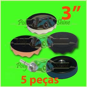 Kit 3 Boinas Espumas 3 Pol. + Suporte + Adaptador Furadeira