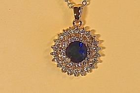 Rsp J2887 Colar Rev Ouro Qtz Safira Azul Brilhantes Natural