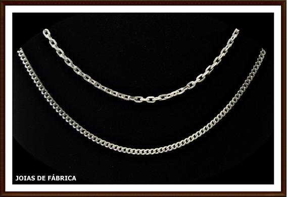 Cordão,corrente Cadeado Ou Grumet Em Prata, 120cm