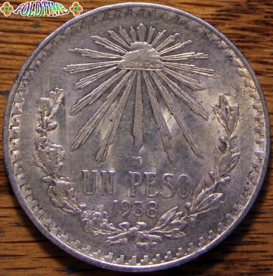 1938 Un Peso Moneda Mexicana Resplandor Rara Au Plata Ley 72