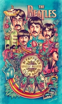The Beatles - Sgt. Peppers Lonely Hearts - Lámina 45x30 Cm.
