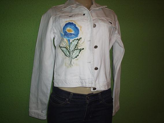 Jaqueta Jeans Branca Tamanho M