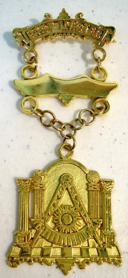 Medalla Past Master Masonica Metal Dorado