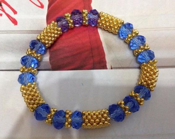Linda Pulseira Bolinhas Bolas Douradas Azul