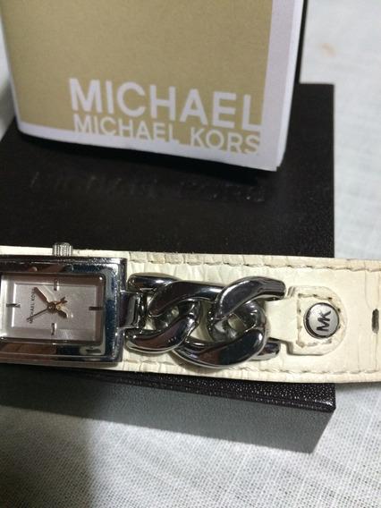 Relógio Michael Kors - Pulseira Bege De Couro Original Usa