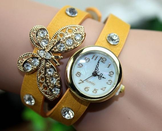 Relógios De Pulso Vintage Com Pulseira De Couro Borboleta